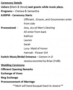 Wedding Timeline Example of Ceremony