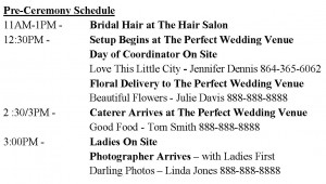Wedding Timeline Example with Vendors