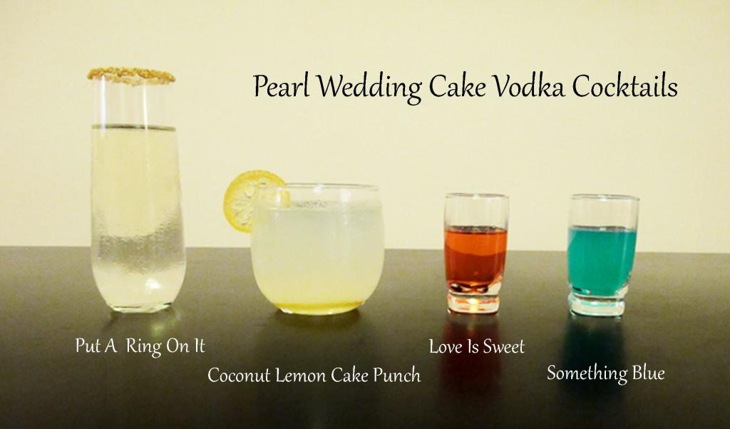 Celebratory drinks with pearl wedding cake vodka liquid for Names of mix drinks